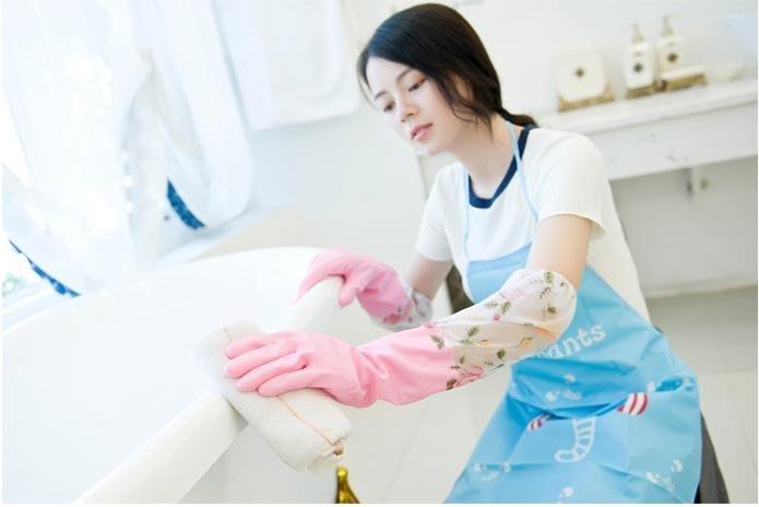 粉紅玫瑰精品屋~居家碎花加絨洗碗手套耐用加長加厚防水橡膠手套~