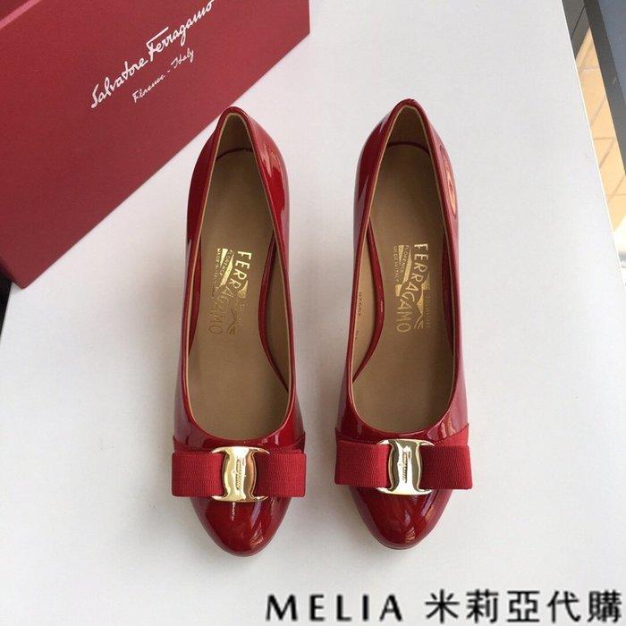 Melia 米莉亞代購 歐美精品女鞋 商城特價 SALVATORE FERRAGAMO 高跟鞋 金扣蝴蝶結設計 紅