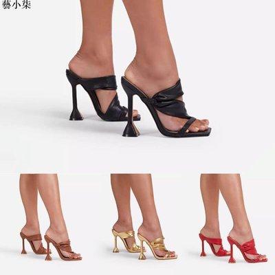 大碼女鞋 高跟涼拖鞋黑色方頭夾新趾高跟涼鞋女細跟外新貿shoes速賣通party拖鞋wish亞馬遜歐美風高跟鞋