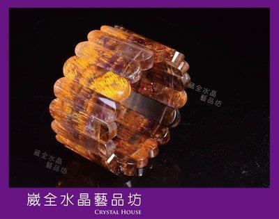【崴全水晶】 旺事業 貴人 運 首選 頂級 ✨黃金 紫鈦 手排✨【約40x12 mm】 手排 飾品