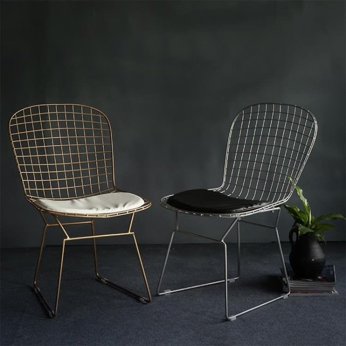 鐵絲網鏤空椅洽談椅鐵藝簡約餐椅工業風金屬辦公椅電腦椅YXS