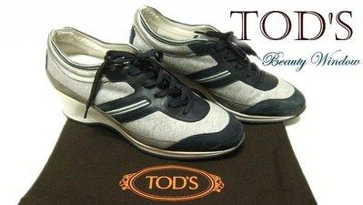 *Beauty*TOD'S灰布面綁帶墊高休閒鞋 38.5號 7成新 ST 原價17900元