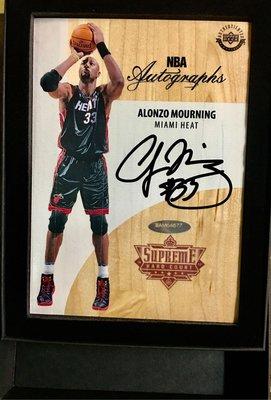 晨星 Alonzo Mourning 親筆卡面簽名卡 (附證書