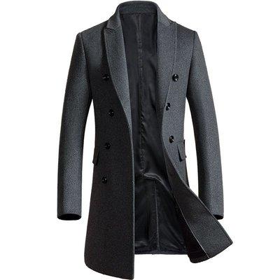 毛呢大衣 中長版風衣-翻領純色雙排扣秋冬男外套2色73wk8[獨家進口][米蘭精品]
