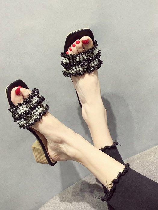 小尤家~小香風ins拖鞋女夏季新款編織格子珍珠一字外穿網紅涼拖鞋潮