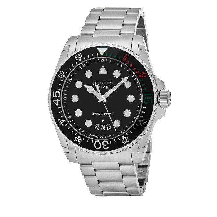 【金永珍珠寶鐘錶】GUCCI錶 原廠真品 大錶徑 YA136208 45M 運動潛水系列 日期水鬼款 情人節 生日禮物*