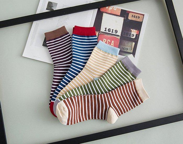 韓系 清爽 風格 大條紋 中筒 男襪 條紋 棉質 風格襪