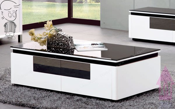 【X+Y時尚精品傢俱】現代客廳系列-康斯柏 白色二抽大茶几-附黑色強化烤漆玻璃.摩登家具