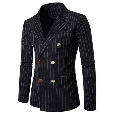 【酷衣族】KQP2586秋裝新款英倫風韓版男士休閒西裝外套外貿實拍時尚豎條紋金色雙排扣修身翻領西裝