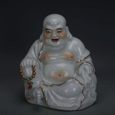 ㊣姥姥的寶藏㊣ 民國雕塑瓷金鑲玉彌勒佛布袋羅漢佛像朱茂記款  古瓷古玩收藏擺件