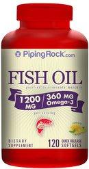 【Piping Rock】現貨 Fish Oil 小型魚魚油 1200mg / Omega-3 360mg 120顆