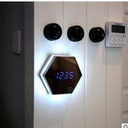 創意禮品鏡子鬧鐘   多功能鏡像數位鬧鐘  LED護眼小夜燈3566