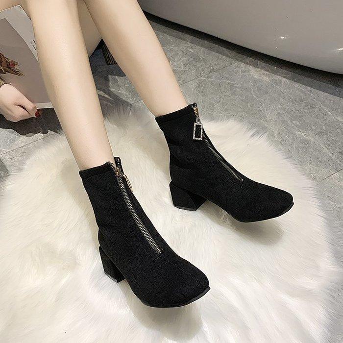 冬季保暖女靴 馬丁鞋 長靴機車靴 韓版百搭秋冬韓版百搭粗跟短靴女前拉鏈中跟馬丁靴女短筒靴子
