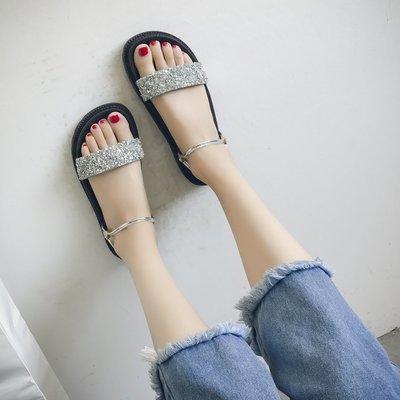 涼鞋女夏平底chic女學生鉚釘韓版一字帶水鉆簡約百搭沙灘羅馬鞋潮