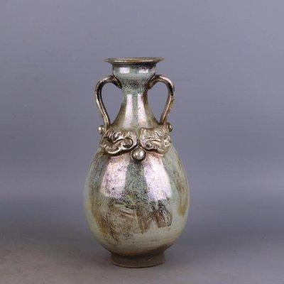 【三顧茅廬 】唐代銀光窯金銀釉堆花雙耳瓶 出土文物古瓷器手工瓷古玩古董收藏