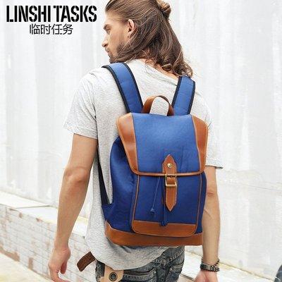 【雙肩包】LINSHI TASKS 雙肩包男時尚潮流休閑復古背包男簡約旅行個性輕便學生電腦書包