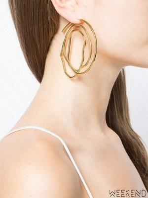【WEEKEND】 ELLERY 黃銅 環繞 螺旋 雙只 一對 大款 耳環 金色