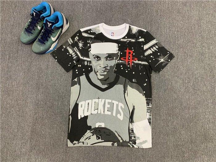 NBAT血職籃球星羅素·衛斯特布(Russell Westbrook)0號 休士頓火箭隊 籃球運動T血  正版