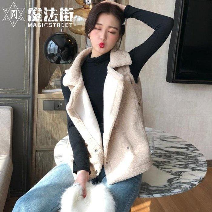 秋冬季新款女裝大翻領羊羔毛馬甲外套純色毛絨無袖背心馬夾潮