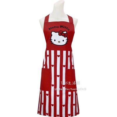 正版授權 三麗鷗 HELLO KITTY 凱蒂貓 紅心條紋圍裙 大人圍裙 附雙口袋 台南市