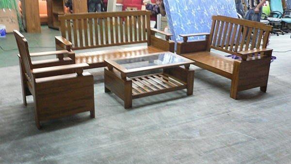 樂居二手家具 全新中古傢俱賣場 P195*柚木條子圓球木製沙發椅*原木沙發椅123含大茶几