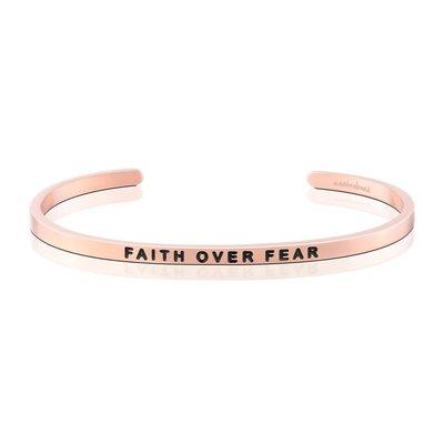 MANTRABAND 美國悄悄話手環 玫瑰金 Faith Over Fear 信念戰勝恐懼
