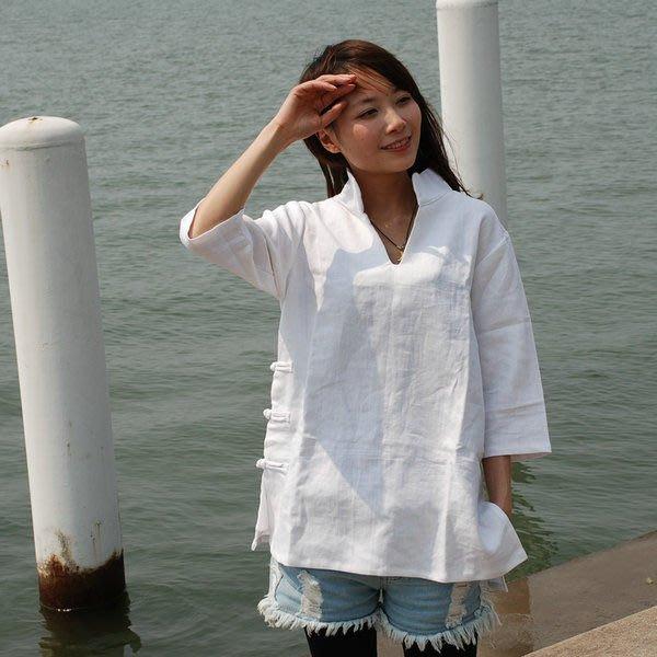 (老銀屋)中式民族風白色高級純亞麻大器顯氣質U型領襯衫