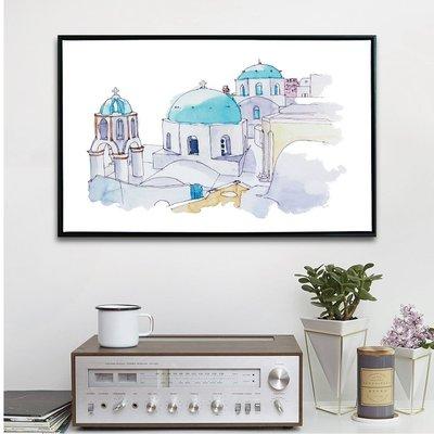 TROMSO 北歐時代風尚有框畫-水彩繪地中海WA021-40x60cm/希臘藍白建築 大樹小屋【H0313077】N1