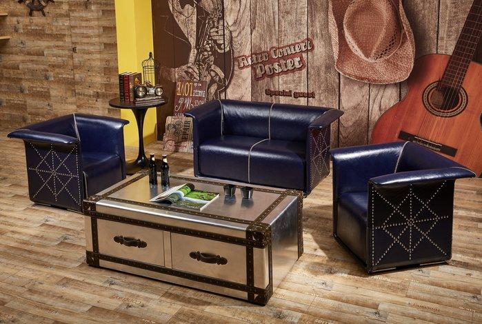 【南洋風休閒傢俱】沙發系列 - 傑森工業風燦藍皮單人沙發 復古沙發  JF152-1