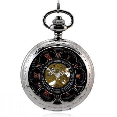 鏤空花瓣XL69黑槍 復古懷表 機械懷表 男女士學生老人手表