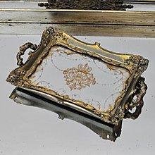 〖洋碼頭〗法式古董樣皇冠圖案 復古鏡面雕花首飾託盤 擺件 極美 shx109