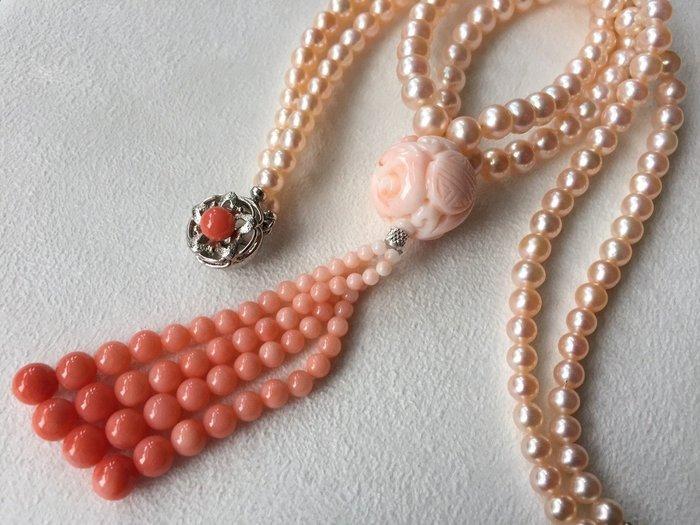 """【Texture & Nobleness 低調與奢華】天然粉色珍珠配16""""龍珠珊瑚流蘇造型漸層珠鍊 日本純銀SV扣頭"""