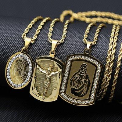 蘇菲家潮人館精雕基督耶穌圣母嘻哈街舞項鍊吊墜 gold-plated jesus pendant