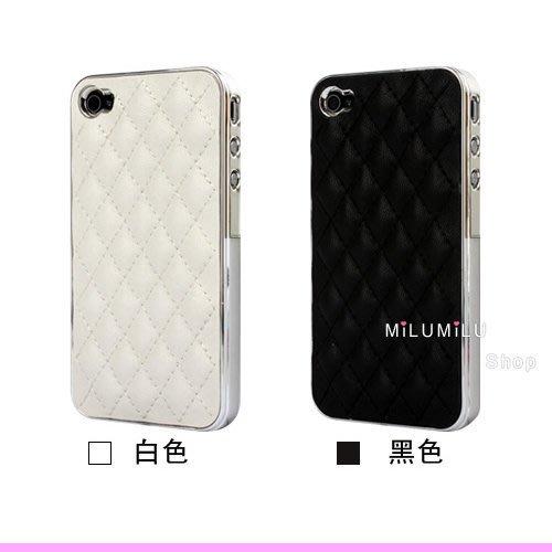 【MiLUMiLU】簡約時尚 小羊皮款 APPLE iPhone 4 超有質感 背蓋 保護殼 保護套 共四色 黑色