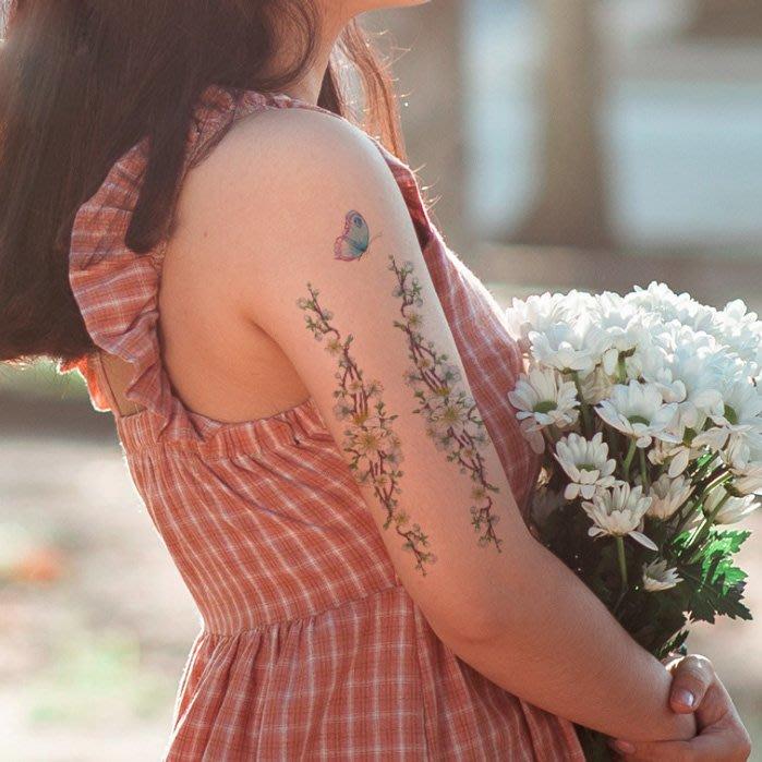【萌古屋】淡紫花朵 - 男女防水紋身貼紙刺青貼紙AQ-005 K19
