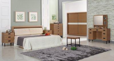 FA-553-A 瑞克5尺梧桐雙人床組(雙人床+床頭櫃x2+鏡台/含椅+5斗櫃)不含床墊大台北區/超低價/高品質/1元起