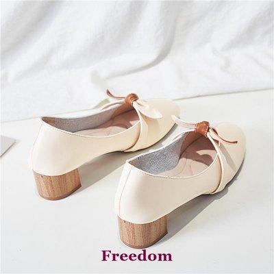 Freedom女鞋復古單鞋女2019新款粗跟中跟瑪麗珍舒適奶奶鞋一腳蹬夏季女鞋百搭