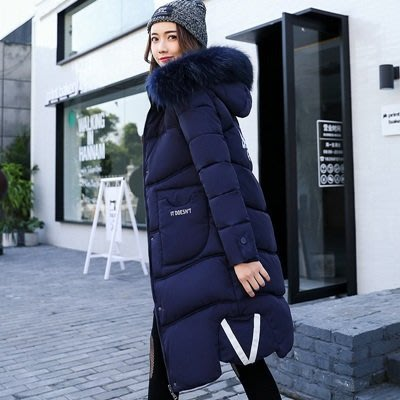 羽絨外套 連帽夾克-長款大毛領字母裝飾加厚女外套7色73pa1[獨家進口][米蘭精品]