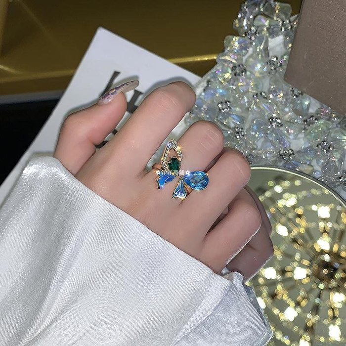 ✿洋洋商鋪✿ 奢華藍水晶蝴蝶開口食指戒指超仙高級感INS潮網紅冷淡風指環女