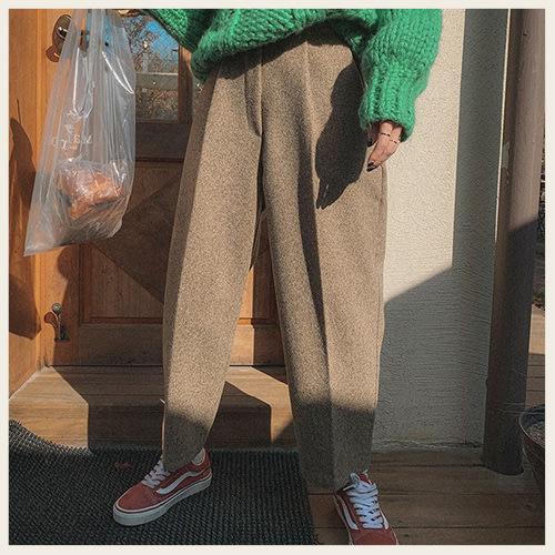 。Styleon。正韓。秋日毛呢摺線寬管9分褲。韓國連線。韓國空運。1111。【hk10hana6610】