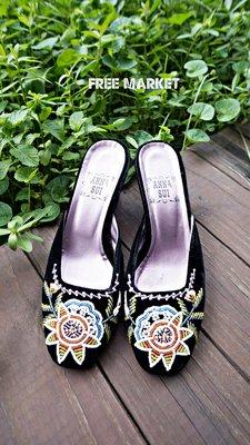 日本製 ANNA SUI 安娜蘇 民俗風珠飾真皮高跟涼拖鞋(串珠) Beaded Slipper/ 穆勒鞋Mules