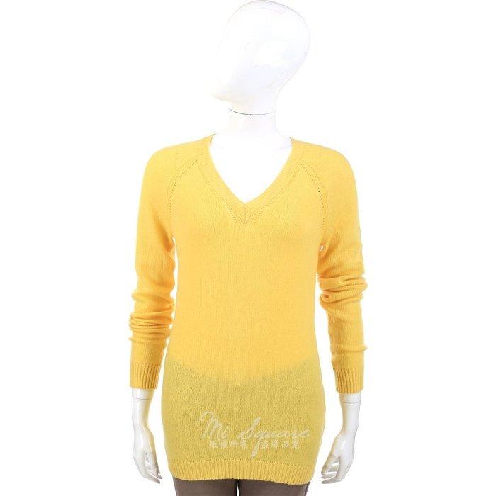 米蘭廣場 ALLUDE 100% CASHMERE 黃色V領長版長袖上衣 1340315-66