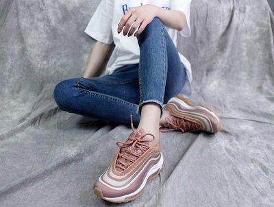 D-BOX Nike Air Max 97 玫瑰金 粉白 輕量 反光 復古運動鞋 女慢跑鞋