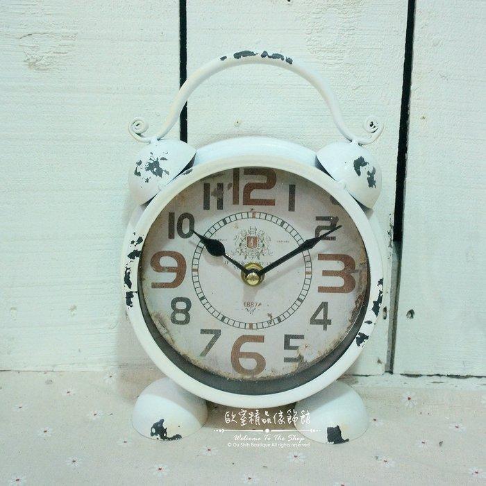 ~*歐室精品傢飾館*~Loft工業 美式鄉村 鐵製 仿舊 復古 雙耳 造型 桌鐘 時鐘 白色 擺飾 裝飾~新款上市~
