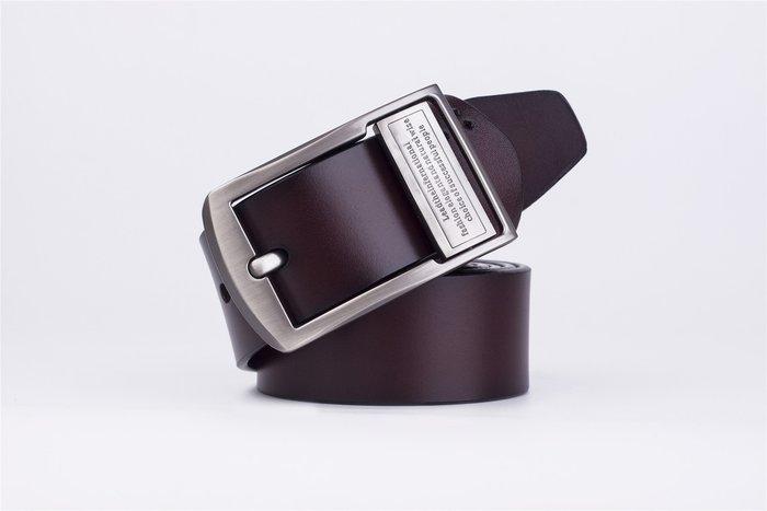 ZK2001BR經典款穿針式牛皮腰帶皮帶咖啡色(腰圍在22-42吋內適用)