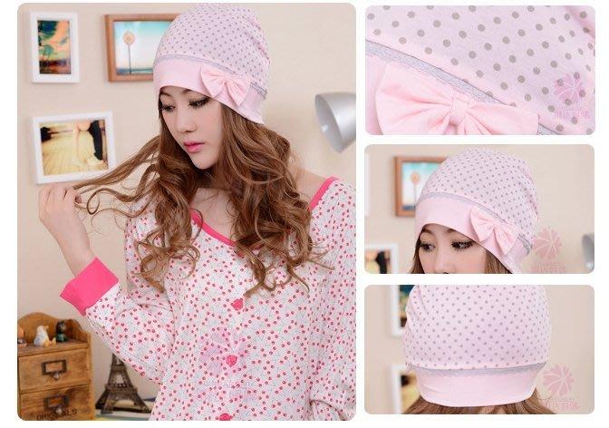 *蜜寶貝*全新【現貨快速出貨】-韓版圓點蝴蝶結防頭風孕婦帽產婦帽月子帽-粉色