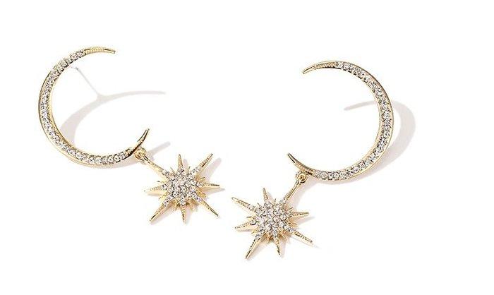 ◎美國代買◎韓風代購水鑽月亮星星金屬星水鑽月亮星星吊飾垂飾耳針耳環~歐美街風~大尺碼