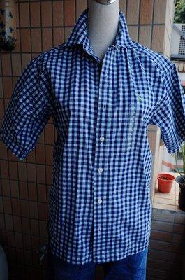 羅拉快跑 全新美國Polo RALPH LAUREN 夏日藍白格紋純棉短袖襯衫