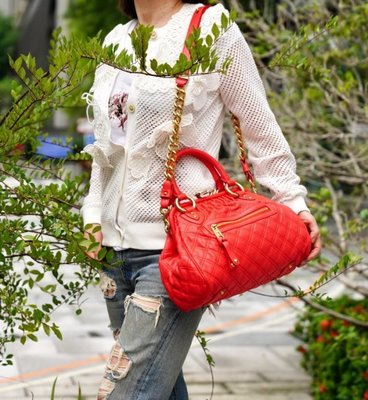 Marc Jacobs Mini Quilted Stam 新款小型羊皮祖母包 orange 珊瑚紅