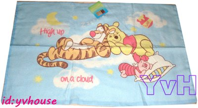 ==YvH==Pillowcase Disney Winnie 藍色維尼熊枕巾 毛巾布 約40x60cm(現貨)